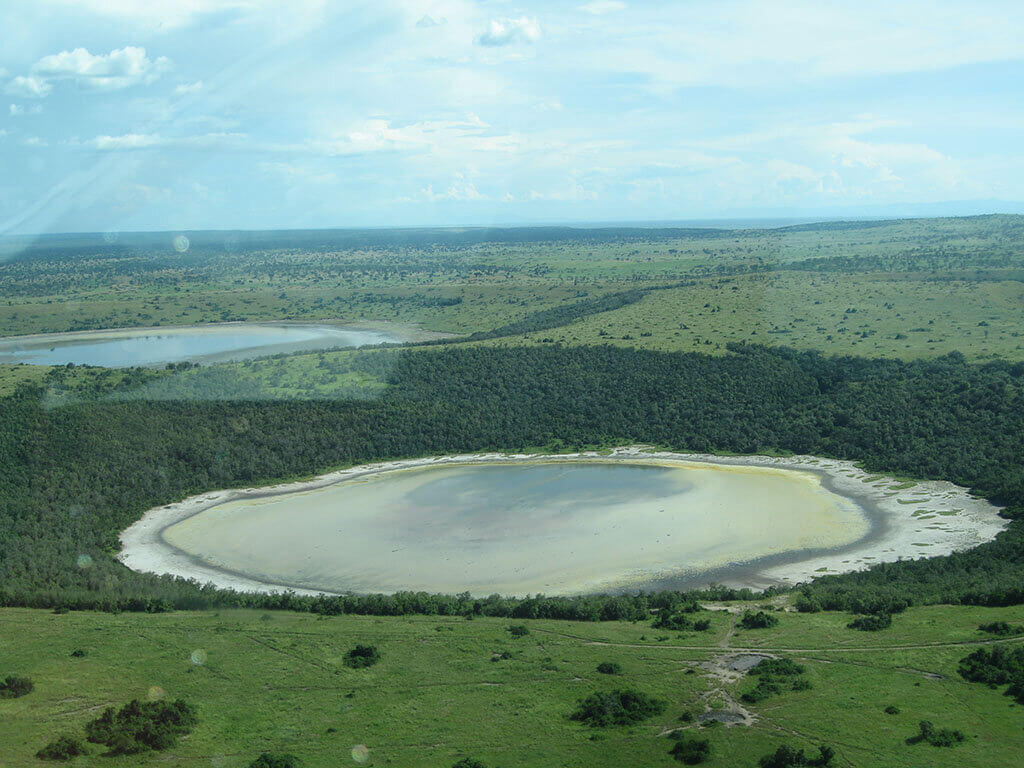 Salt lake in queen elizabeth national park